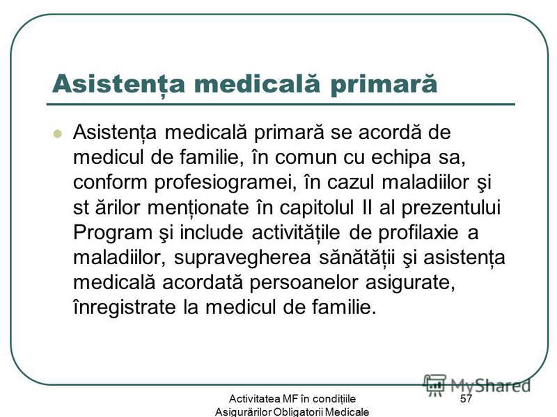 Activitatea MF în condiţiile Asigurărilor Obligatorii Medicale 57 Asistenţa medicală primară Asistenţa medicală primară se acordă de medicul de familie, în comun cu echipa sa, conform profesiogramei, în cazul maladiilor şi st ărilor menţionate în cap