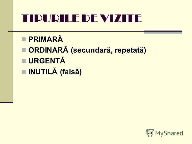 TIPURILE DE VIZITE PRIMARĂ ORDINARĂ (secundară, repetată) URGENTĂ INUTILĂ (falsă)