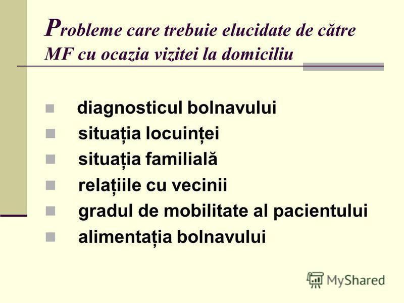 P robleme care trebuie elucidate de către MF cu ocazia vizitei la domiciliu diagnosticul bolnavului situaţia locuinţei situaţia familială relaţiile cu vecinii gradul de mobilitate al pacientului alimentaţia bolnavului