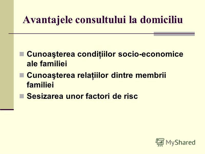 Avantajele consultului la domiciliu Cunoaşterea condiţiilor socio-economice ale familiei Cunoaşterea relaţiilor dintre membrii familiei Sesizarea unor factori de risc