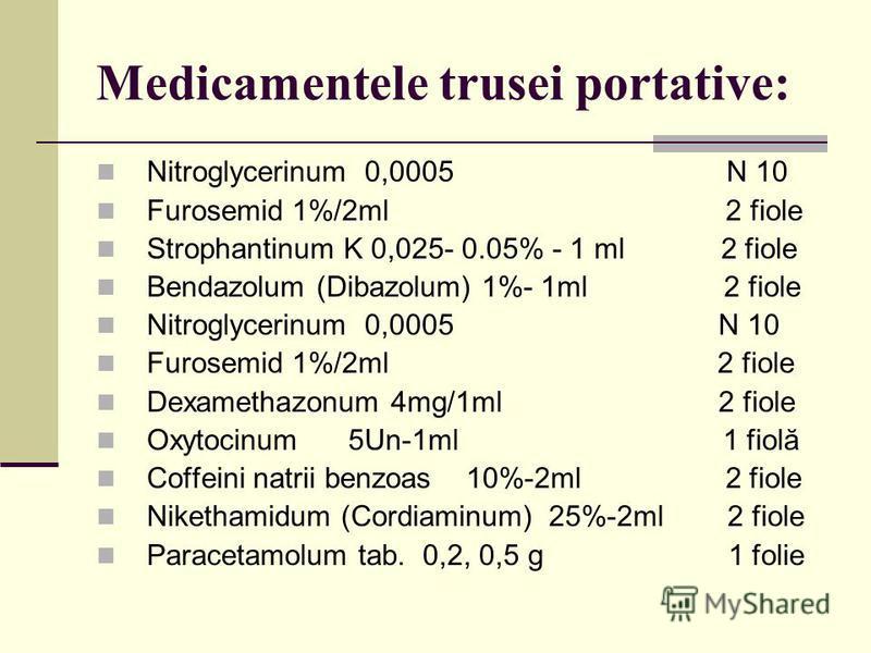 Medicamentele trusei portative: Nitroglycerinum 0,0005 N 10 Furosemid 1%/2ml 2 fiole Strophantinum K 0,025- 0.05% - 1 ml 2 fiole Bendazolum (Dibazolum) 1%- 1ml 2 fiole Nitroglycerinum 0,0005 N 10 Furosemid 1%/2ml 2 fiole Dexamethazonum 4mg/1ml 2 fiol