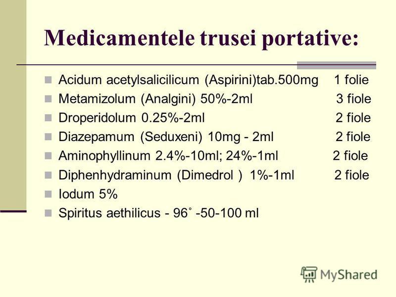 Medicamentele trusei portative: Acidum acetylsalicilicum (Aspirini)tab.500mg 1 folie Metamizolum (Analgini) 50%-2ml 3 fiole Droperidolum 0.25%-2ml 2 fiole Diazepamum (Seduxeni) 10mg - 2ml 2 fiole Aminophyllinum 2.4%-10ml; 24%-1ml 2 fiole Diphenhydram