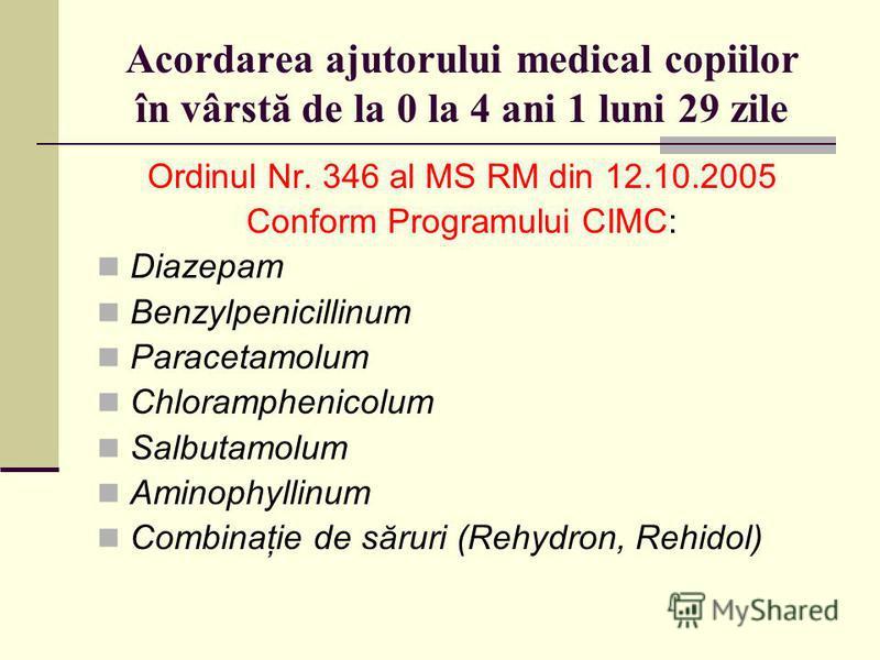 Acordarea ajutorului medical copiilor în vârstă de la 0 la 4 ani 1 luni 29 zile Ordinul Nr. 346 al MS RM din 12.10.2005 Conform Programului CIMC: Diazepam Benzylpenicillinum Paracetamolum Chloramphenicolum Salbutamolum Aminophyllinum Combinaţie de să