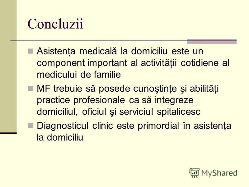 Concluzii Asistenţa medicală la domiciliu este un component important al activităţii cotidiene al medicului de familie MF trebuie să posede cunoştinţe şi abilităţi practice profesionale ca să integreze domiciliul, oficiul şi serviciul spitalicesc Dia