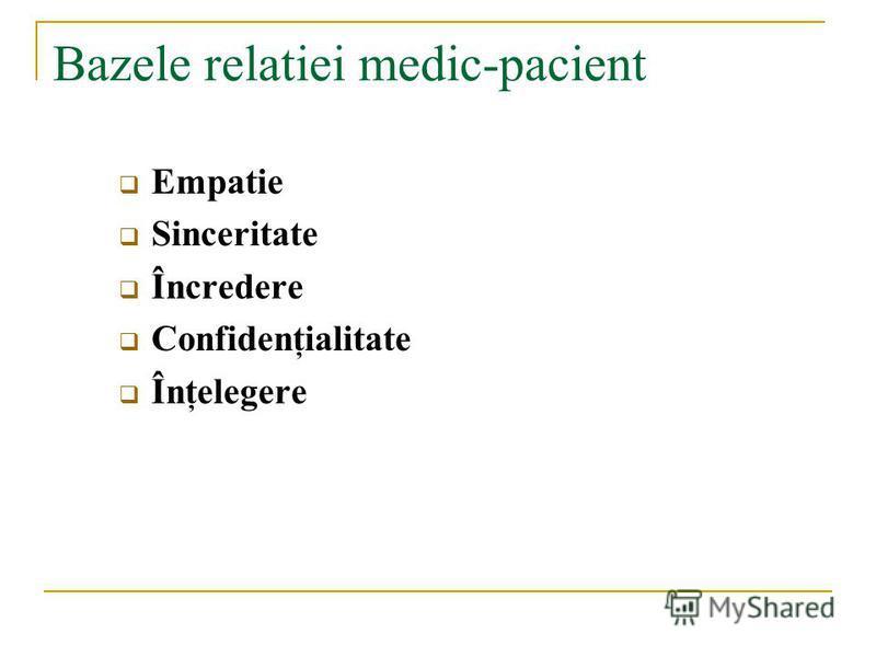 Bazele relatiei medic-pacient Empatie Sinceritate Încredere Confidenţialitate Înţelegere