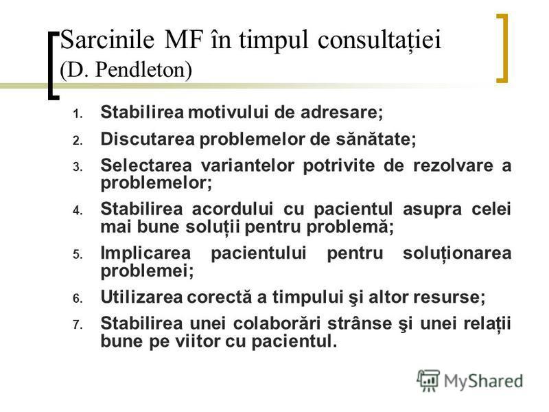 Sarcinile MF în timpul consultaţiei (D. Pendleton) 1. Stabilirea motivului de adresare; 2. Discutarea problemelor de sănătate; 3. Selectarea variantelor potrivite de rezolvare a problemelor; 4. Stabilirea acordului cu pacientul asupra celei mai bune