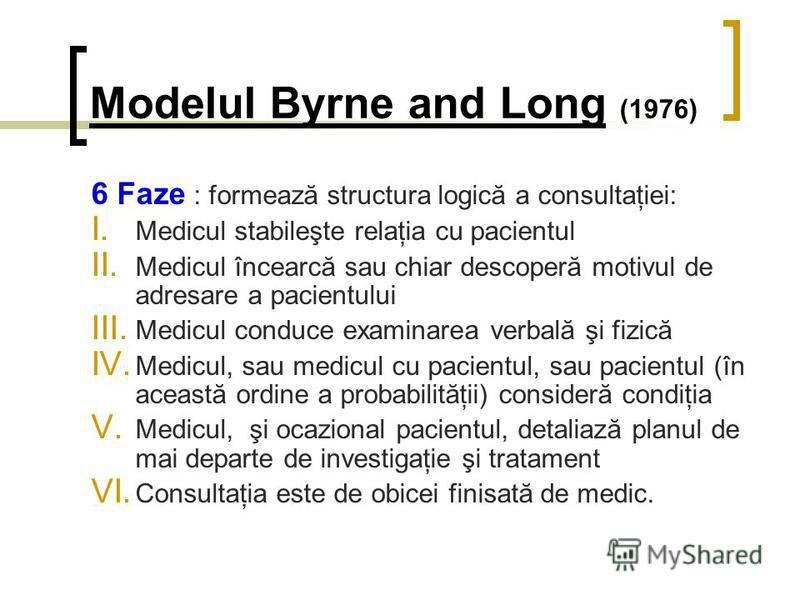 Modelul Byrne and Long (1976) 6 Faze : formează structura logică a consultaţiei: I. Medicul stabileşte relaţia cu pacientul II. Medicul încearcă sau chiar descoperă motivul de adresare a pacientului III. Medicul conduce examinarea verbală şi fizică I