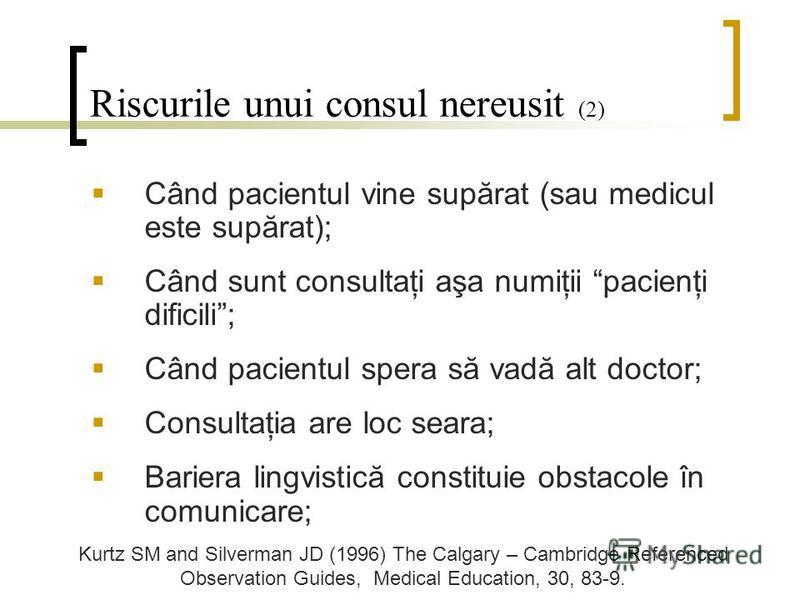 Riscurile unui consul nereusit (2) Când pacientul vine supărat (sau medicul este supărat); Când sunt consultaţi aşa numiţii pacienţi dificili; Când pacientul spera să vadă alt doctor; Consultaţia are loc seara; Bariera lingvistică constituie obstacol