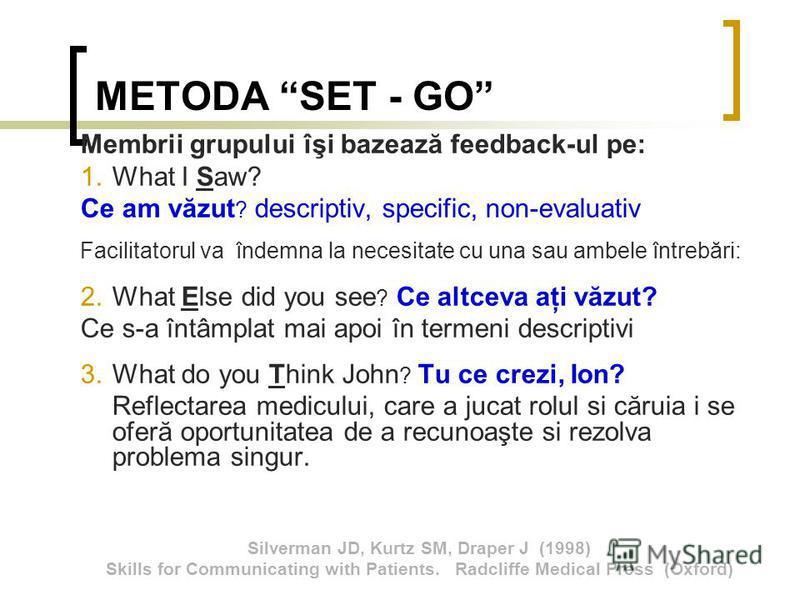 METODA SET - GO Membrii grupului îşi bazează feedback-ul pe: 1.What I Saw? Ce am văzut ? descriptiv, specific, non-evaluativ Facilitatorul va îndemna la necesitate cu una sau ambele întrebări: 2.What Else did you see ? Ce altceva aţi văzut? Ce s-a în