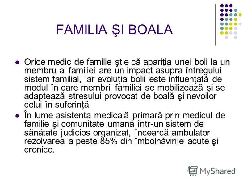 FAMILIA ŞI BOALA Orice medic de familie ştie că apariţia unei boli la un membru al familiei are un impact asupra întregului sistem familial, iar evoluţia bolii este influenţată de modul în care membrii familiei se mobilizează şi se adaptează stresulu