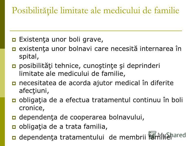 Posibilităţile limitate ale medicului de familie Existenţa unor boli grave, existenţa unor bolnavi care necesită internarea în spital, posibilităţi tehnice, cunoştinţe şi deprinderi limitate ale medicului de familie, necesitatea de acorda ajutor medi