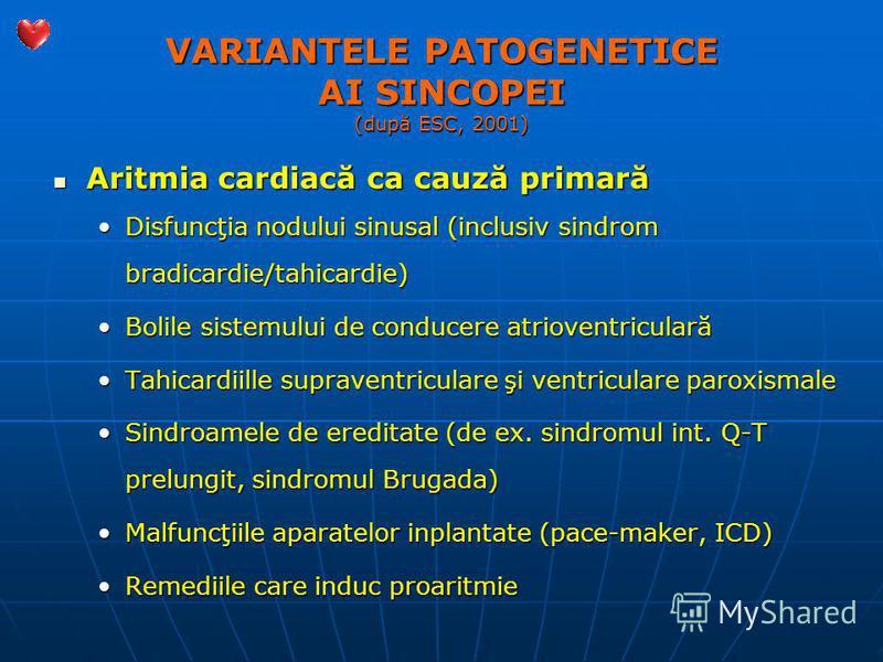 VARIANTELE PATOGENETICE AI SINCOPEI (după ESC, 2001) Aritmia cardiacă ca cauză primară Aritmia cardiacă ca cauză primară Disfuncţia nodului sinusal (inclusiv sindrom bradicardie/tahicardie)Disfuncţia nodului sinusal (inclusiv sindrom bradicardie/tahi