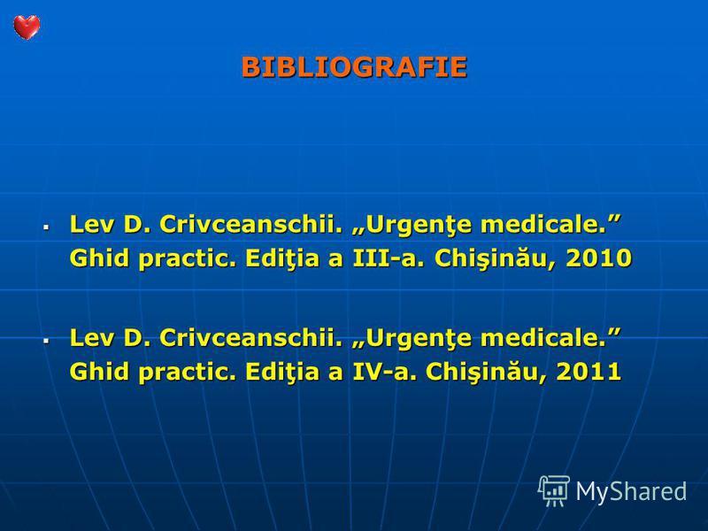 BIBLIOGRAFIE Lev D. Crivceanschii. Urgenţe medicale. Ghid practic. Ediţia a III-a. Chişinău, 2010 Lev D. Crivceanschii. Urgenţe medicale. Ghid practic. Ediţia a III-a. Chişinău, 2010 Lev D. Crivceanschii. Urgenţe medicale. Ghid practic. Ediţia a IV-a