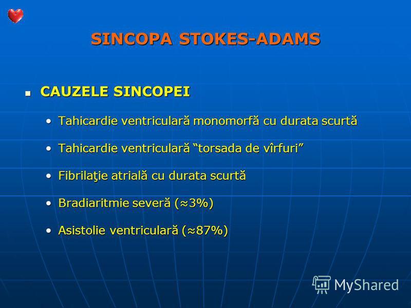 SINCOPA STOKES-ADAMS CAUZELE SINCOPEI CAUZELE SINCOPEI Tahicardie ventriculară monomorfă cu durata scurtăTahicardie ventriculară monomorfă cu durata scurtă Tahicardie ventriculară torsada de vîrfuriTahicardie ventriculară torsada de vîrfuri Fibrilaţi