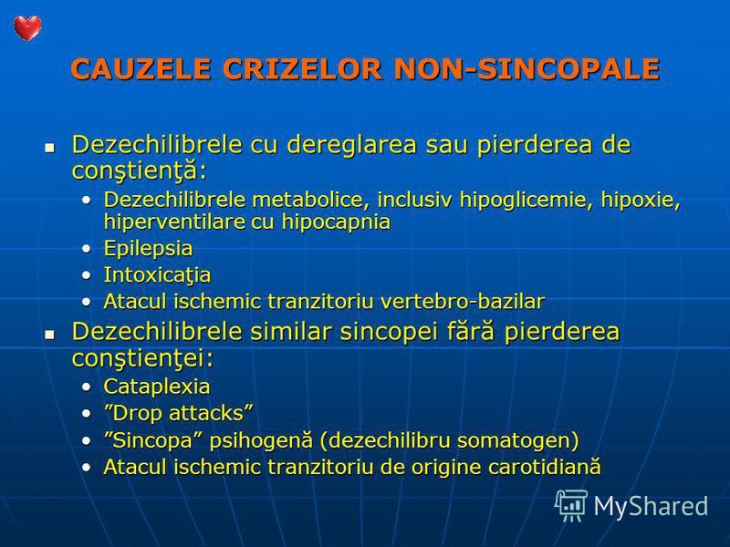 CAUZELE CRIZELOR NON-SINCOPALE Dezechilibrele cu dereglarea sau pierderea de conştienţă: Dezechilibrele cu dereglarea sau pierderea de conştienţă: Dezechilibrele metabolice, inclusiv hipoglicemie, hipoxie, hiperventilare cu hipocapniaDezechilibrele m