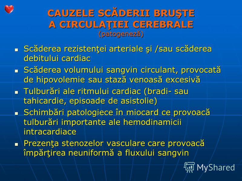 CAUZELE SCĂDERII BRUŞTE A CIRCULAŢIEI CEREBRALE (patogeneză) Scăderea rezistenţei arteriale şi /sau scăderea debitului cardiac Scăderea rezistenţei arteriale şi /sau scăderea debitului cardiac Scăderea volumului sangvin circulant, provocată de hipovo