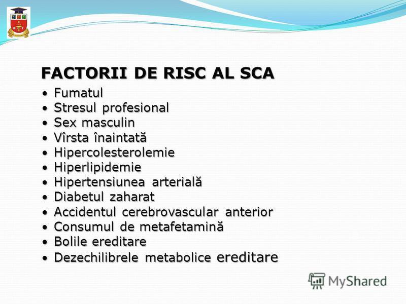 FACTORII DE RISC AL SCA Fumatul Fumatul Stresul profesional Stresul profesional Sex masculin Sex masculin Vîrsta înaintată Vîrsta înaintată Hipercolesterolemie Hipercolesterolemie Hiperlipidemie Hiperlipidemie Hipertensiunea arterială Hipertensiunea