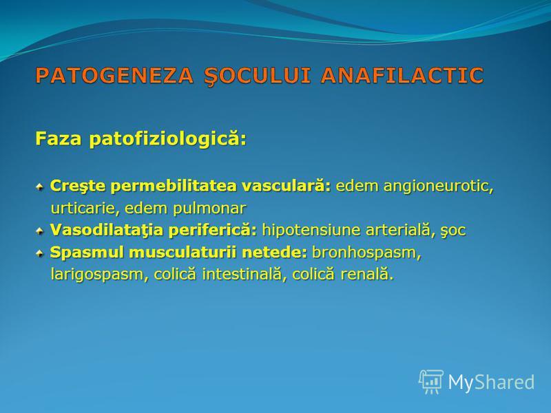 Faza patofiziologică: Creşte permebilitatea vasculară: edem angioneurotic, Creşte permebilitatea vasculară: edem angioneurotic, urticarie, edem pulmonar urticarie, edem pulmonar Vasodilataţia periferică: hipotensiune arterială, şoc Vasodilataţia peri