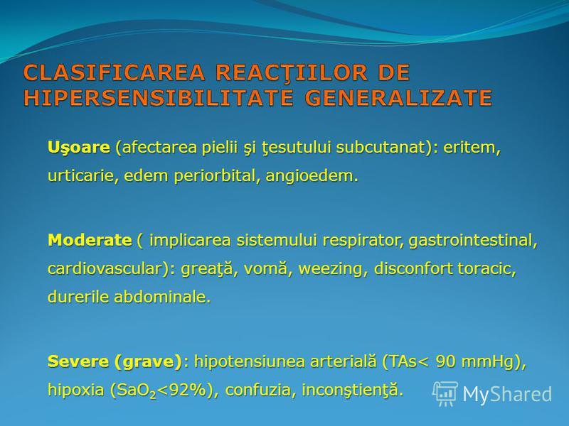 Uşoare (afectarea pielii şi ţesutului subcutanat): eritem, urticarie, edem periorbital, angioedem. Moderate ( implicarea sistemului respirator, gastrointestinal, cardiovascular): greaţă, vomă, weezing, disconfort toracic, durerile abdominale. Severe