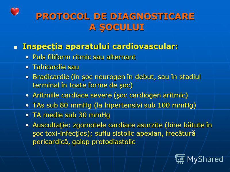 PROTOCOL DE DIAGNOSTICARE A ŞOCULUI Inspecţia aparatului cardiovascular: Inspecţia aparatului cardiovascular: Puls filiform ritmic sau alternantPuls filiform ritmic sau alternant Tahicardie sauTahicardie sau Bradicardie (în şoc neurogen în debut, sau