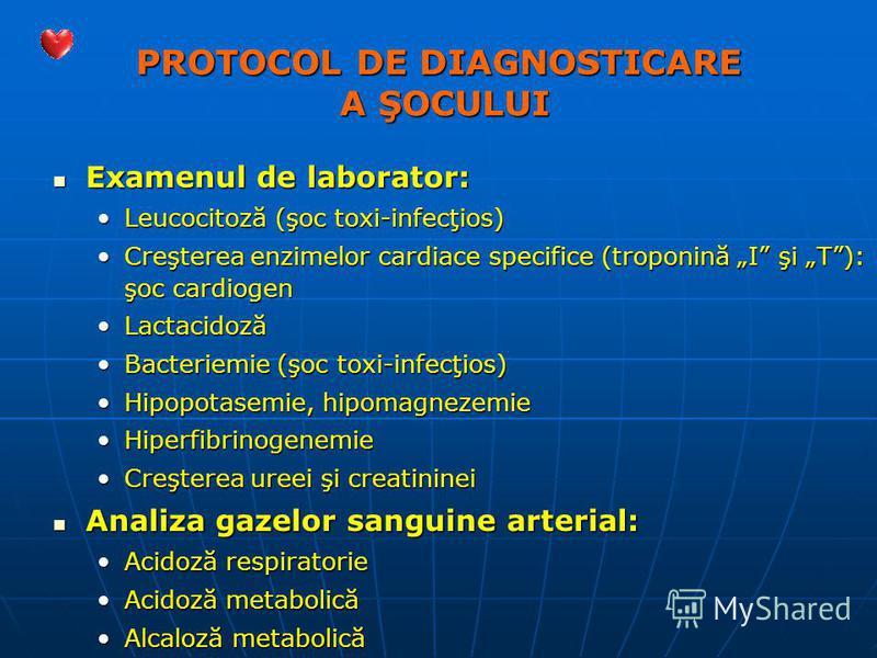 PROTOCOL DE DIAGNOSTICARE A ŞOCULUI Examenul de laborator: Examenul de laborator: Leucocitoză (şoc toxi-infecţios)Leucocitoză (şoc toxi-infecţios) Creşterea enzimelor cardiace specifice (troponină I şi T): şoc cardiogenCreşterea enzimelor cardiace sp