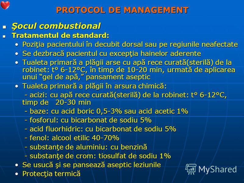 PROTOCOL DE MANAGEMENT Şocul combustional Şocul combustional Tratamentul de standard: Tratamentul de standard: Poziţia pacientului în decubit dorsal sau pe regiunile neafectatePoziţia pacientului în decubit dorsal sau pe regiunile neafectate Se dezbr