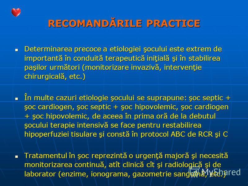 RECOMANDĂRILE PRACTICE Determinarea precoce a etiologiei şocului este extrem de importantă în conduită terapeutică iniţială şi în stabilirea paşilor următori (monitorizare invazivă, intervenţie chirurgicală, etc.) Determinarea precoce a etiologiei şo