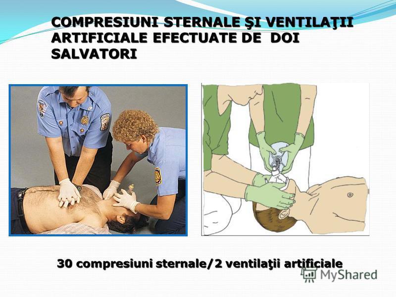 30 compresiuni sternale/2 ventilaţii artificiale COMPRESIUNI STERNALE ŞI VENTILAŢII ARTIFICIALE EFECTUATE DE DOI SALVATORI