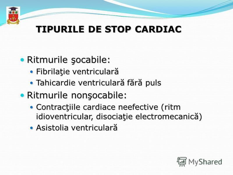 TIPURILE DE STOP CARDIAC Ritmurile şocabile: Ritmurile şocabile: Fibrilaţie ventriculară Fibrilaţie ventriculară Tahicardie ventriculară fără puls Tahicardie ventriculară fără puls Ritmurile nonşocabile: Ritmurile nonşocabile: Contracţiile cardiace n