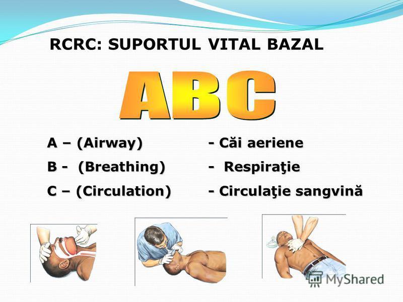 RCRC: SUPORTUL VITAL BAZAL A – (Airway) - Căi aeriene B - (Breathing)- Respiraţie C – (Circulation)- Circulaţie sangvină