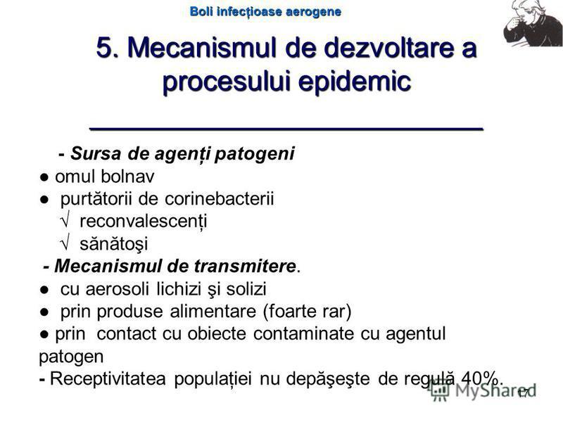 Boli infecţioase aerogene 17 5. Mecanismul de dezvoltare a procesului epidemic _________________________ - Sursa de agenţi patogeni omul bolnav purtătorii de corinebacterii reconvalescenţi sănătoşi - Mecanismul de transmitere. cu aerosoli lichizi şi