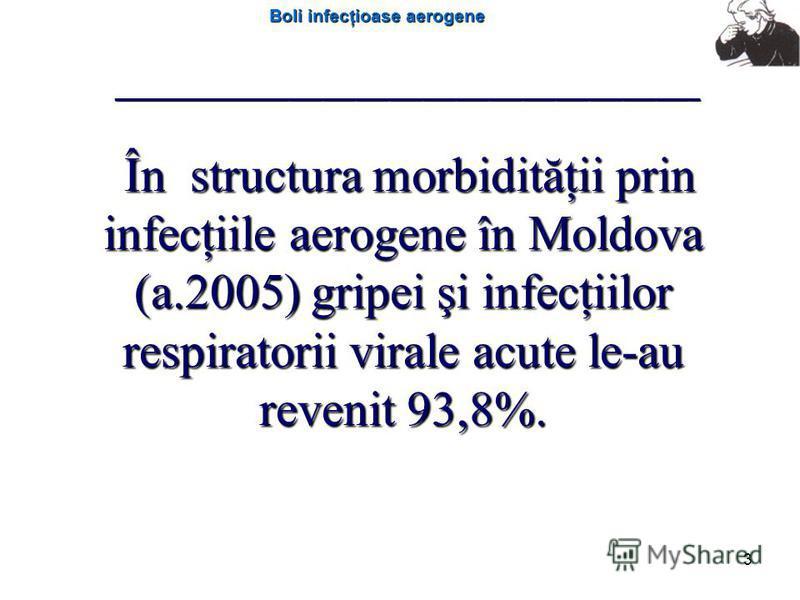Boli infecţioase aerogene 3 În structura morbidităţii prin infecţiile aerogene în Moldova (a.2005) gripei şi infecţiilor respiratorii virale acute le-au revenit 93,8%. În structura morbidităţii prin infecţiile aerogene în Moldova (a.2005) gripei şi i