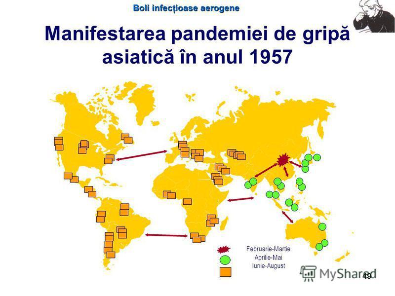 Boli infecţioase aerogene 49 Manifestarea pandemiei de gripă asiatică în anul 1957 Februarie-Martie Aprilie-Mai Iunie-August