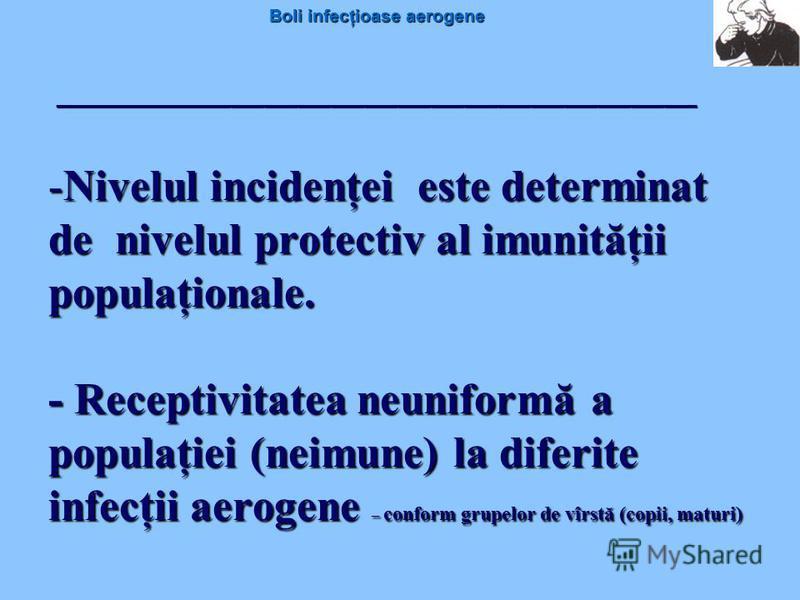 Boli infecţioase aerogene -Nivelul incidenţei este determinat de nivelul protectiv al imunităţii populaţionale. - Receptivitatea neuniformă a populaţiei (neimune) la diferite infecţii aerogene – conform grupelor de vîrstă (copii, maturi) ____________