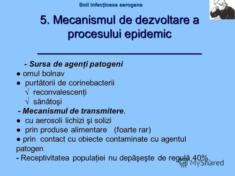 Boli infecţioase aerogene 5. Mecanismul de dezvoltare a procesului epidemic _________________________ - Sursa de agenţi patogeni omul bolnav purtătorii de corinebacterii reconvalescenţi sănătoşi - Mecanismul de transmitere. cu aerosoli lichizi şi sol