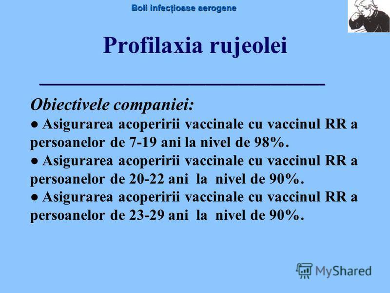 Boli infecţioase aerogene Profilaxia rujeolei Obiectivele companiei: Asigurarea acoperirii vaccinale cu vaccinul RR a persoanelor de 7-19 ani la nivel de 98%. Asigurarea acoperirii vaccinale cu vaccinul RR a persoanelor de 20-22 ani la nivel de 90%.
