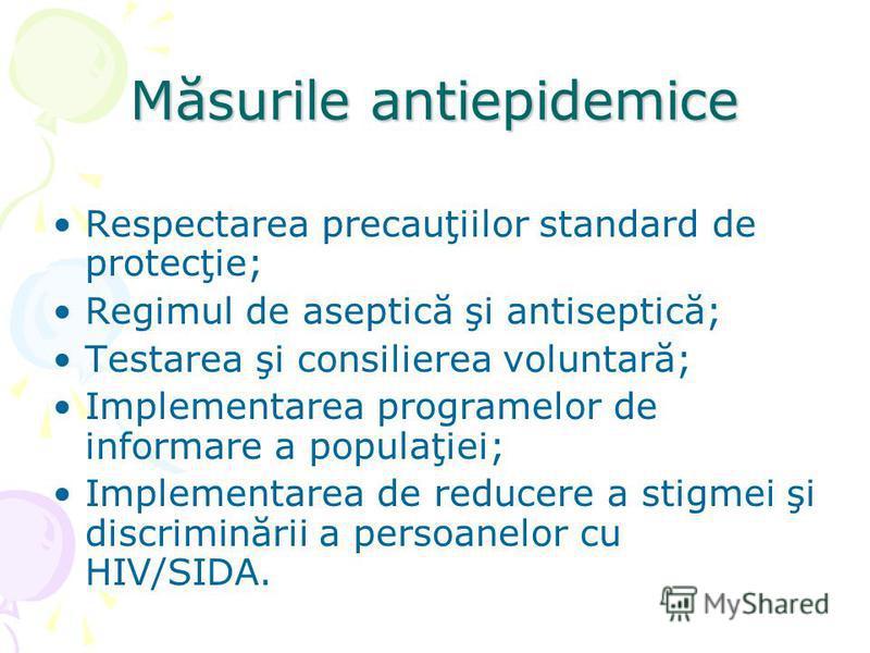 Respectarea precauţiilor standard de protecţie; Regimul de aseptică şi antiseptică; Testarea şi consilierea voluntară; Implementarea programelor de informare a populaţiei; Implementarea de reducere a stigmei şi discriminării a persoanelor cu HIV/SIDA