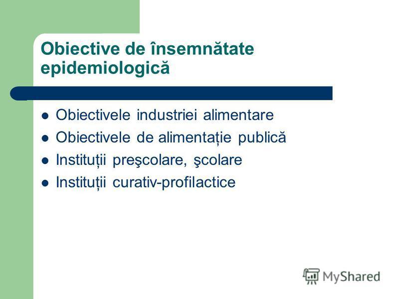 Obiective de însemnătate epidemiologică Obiectivele industriei alimentare Obiectivele de alimentaţie publică Instituţii preşcolare, şcolare Instituţii curativ-profilactice