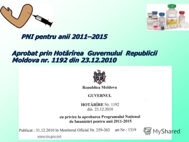PNI pentru anii 2011–2015 PNI pentru anii 2011–2015 Aprobat prin Hotărîrea Guvernului Republicii Moldova nr. 1192 din 23.12.2010