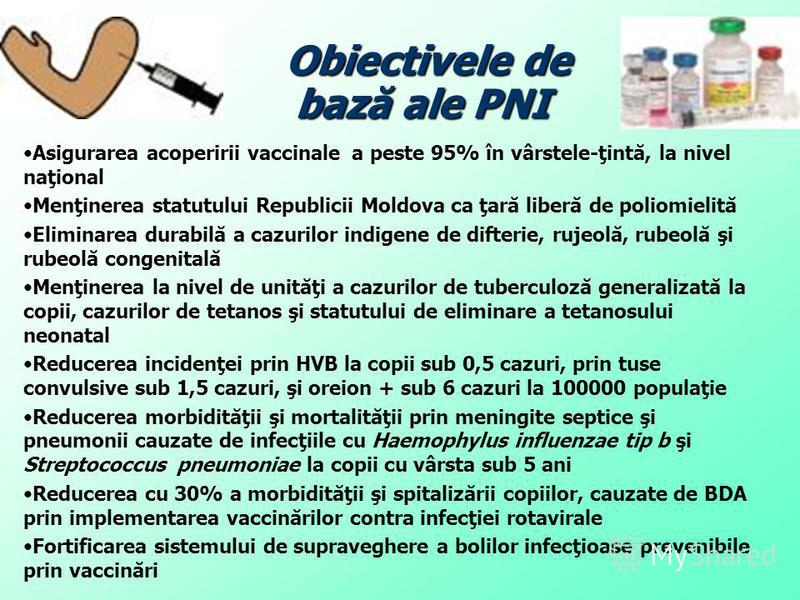 Obiectivele de bază ale PNI Obiectivele de bază ale PNI Asigurarea acoperirii vaccinale a peste 95% în vârstele-ţintă, la nivel naţional Menţinerea statutului Republicii Moldova ca ţară liberă de poliomielită Eliminarea durabilă a cazurilor indigene