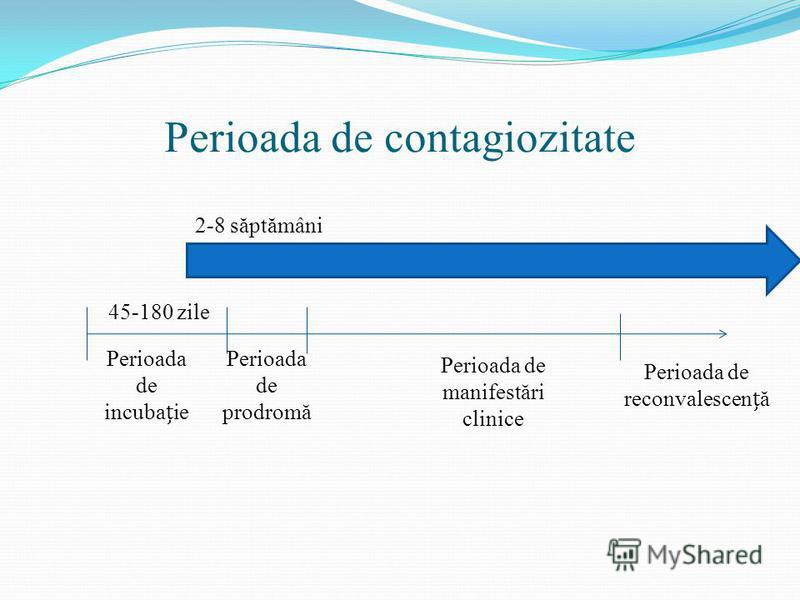 Perioada de contagiozitate 45-180 zile Perioada de incubaie Perioada de prodromă Perioada de manifestări clinice Perioada de reconvalescenă 2-8 săptămâni