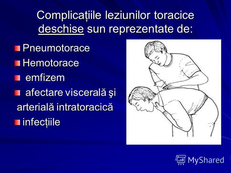 Complicaţiile leziunilor toracice deschise sun reprezentate de: PneumotoraceHemotorace emfizem emfizem afectare viscerală şi afectare viscerală şi arterială intratoracică arterială intratoracicăinfecţiile