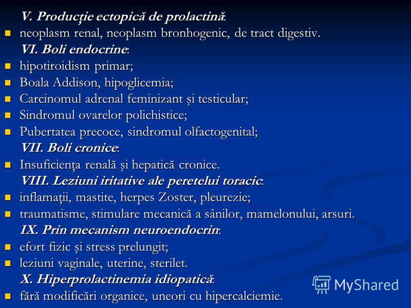 V. Producţie ectopică de prolactină: neoplasm renal, neoplasm bronhogenic, de tract digestiv. neoplasm renal, neoplasm bronhogenic, de tract digestiv. VI. Boli endocrine: hipotiroidism primar; hipotiroidism primar; Boala Addison, hipoglicemia; Boala