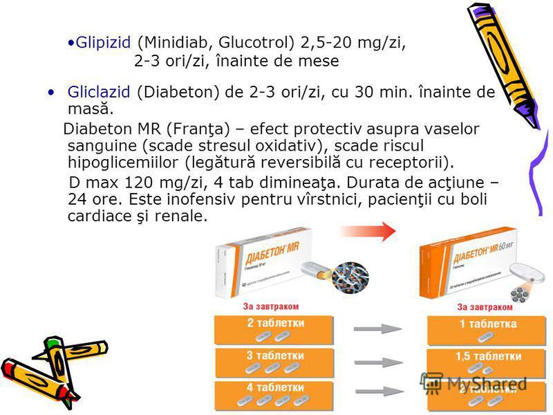 Glipizid (Minidiab, Glucotrol) 2,5-20 mg/zi, 2-3 ori/zi, înainte de mese Gliclazid (Diabeton) de 2-3 ori/zi, cu 30 min. înainte de masă. Diabeton MR (Franţa) – efect protectiv asupra vaselor sanguine (scade stresul oxidativ), scade riscul hipoglicemi