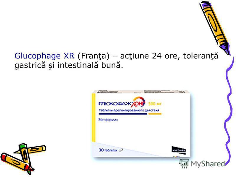 Glucophage XR (Franţa) – acţiune 24 ore, toleranţă gastrică şi intestinală bună.