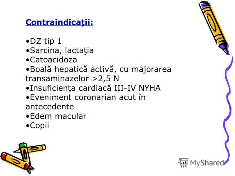 Contraindicaţii: DZ tip 1 Sarcina, lactaţia Catoacidoza Boală hepatică activă, cu majorarea transaminazelor >2,5 N Insuficienţa cardiacă III-IV NYHA Eveniment coronarian acut în antecedente Edem macular Copii