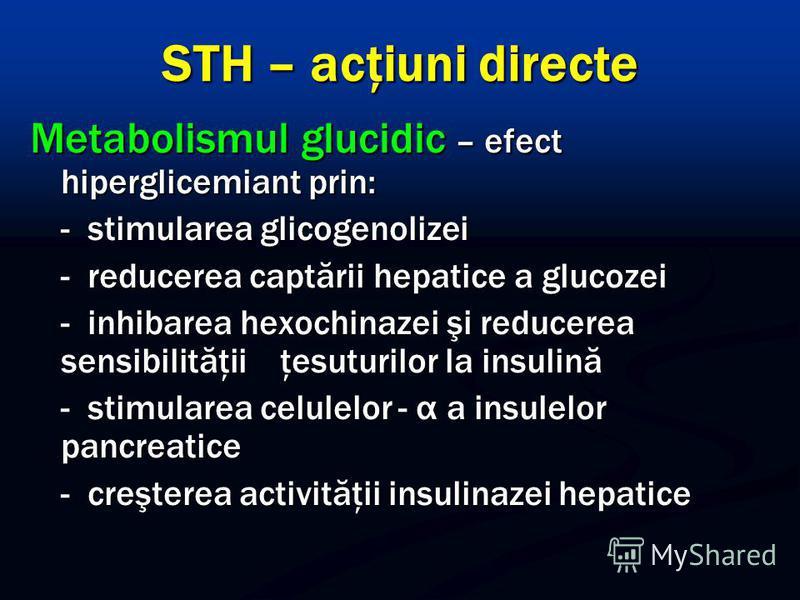 STH – acţiuni directe Metabolismul glucidic – efect hiperglicemiant prin: - stimularea glicogenolizei - reducerea captării hepatice a glucozei - inhibarea hexochinazei şi reducerea sensibilităţii ţesuturilor la insulină - stimularea celulelor - α a i
