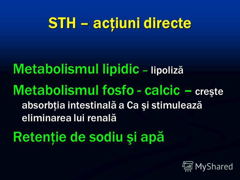 STH – acţiuni directe Metabolismul lipidic – lipoliză Metabolismul fosfo - calcic – creşte absorbţia intestinală a Ca şi stimulează eliminarea lui renală Retenţie de sodiu şi apă