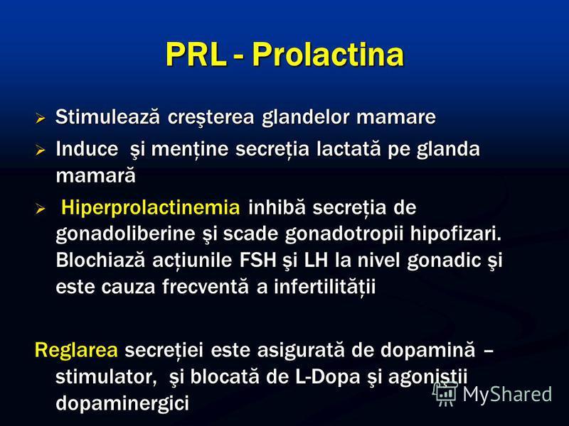 PRL - Prolactina Stimulează creşterea glandelor mamare Stimulează creşterea glandelor mamare Induce şi menţine secreţia lactată pe glanda mamară Induce şi menţine secreţia lactată pe glanda mamară Hiperprolactinemia inhibă secreţia de gonadoliberine