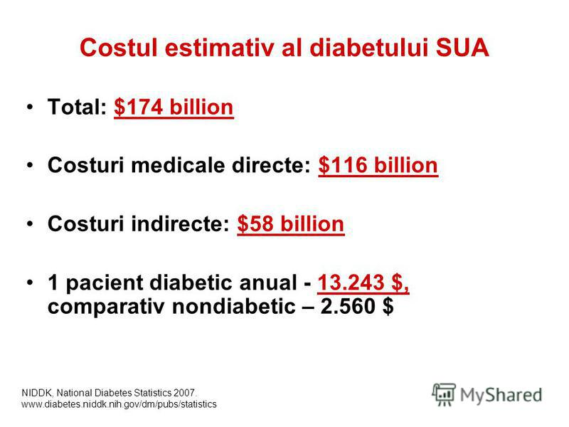 Costul estimativ al diabetului SUA Total: $174 billion Costuri medicale directe: $116 billion Costuri indirecte: $58 billion 1 pacient diabetic anual - 13.243 $, comparativ nondiabetic – 2.560 $ NIDDK, National Diabetes Statistics 2007. www.diabetes.